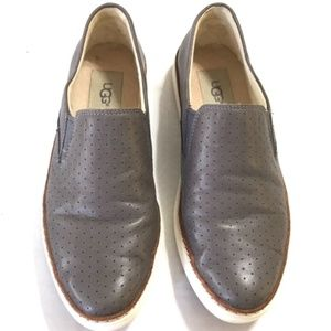 UGG Women's Leather Gray Sneakers Size 7